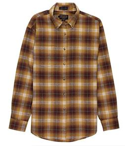 Pendleton Men's Lister Button Up Flannel L/S Shirt Brown Omb