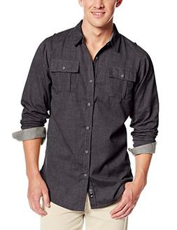 men s locked long sleeve button down