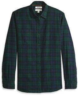 Goodthreads Men's Long-Sleeve Brushed Flannel Shirt, Navy Bl