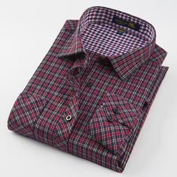 Men's Long Sleeve Brushed Plaid Dress <font><b>Shirt</b></fo