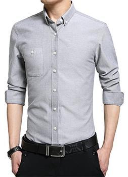 XTAPAN Men's Long Sleeve Casual Slim Fit Cotton Button Down