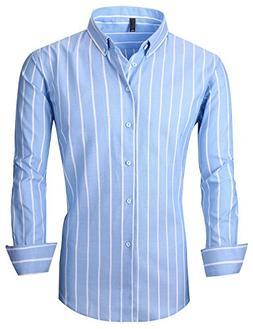XTAPAN Men's Long Sleeve Casual Slim Fit Vertical Striped Bu