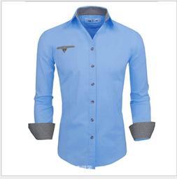 Men's Long Sleeve Fit Cotton Slim Doublju Flannel Button Dow