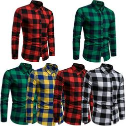 Men's Long Sleeve Flannel Casual Luxury Check Print Cotton W
