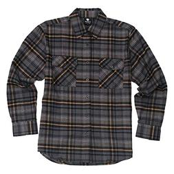 YAGO Men's Long Sleeve Flannel Plaid Button Down Shirt Black