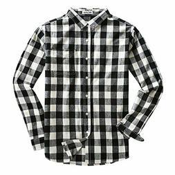 Mocotono Men's Long Sleeve Flannel Plaid Button Down Casual