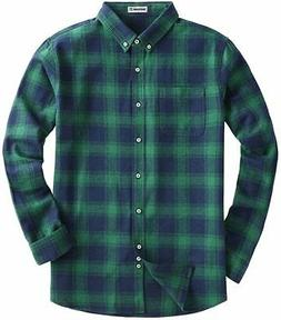 Men's Long Sleeve Flannel Plaid Checkered Button Down, Green