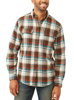 George Men's Long Sleeve Flannel Shirt - Brown Bark Multi -