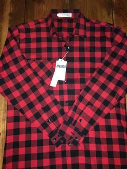OCHENTA Men's Long Sleeve Plaid Flannel Shirt Red & Black, 3