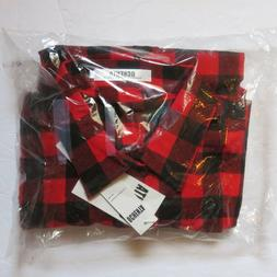 OCHENTA Men's Long Sleeve Plaid Flannel Shirt Red & Black