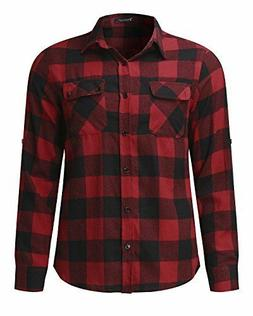 MODCHOK Men's Long Sleeve Plaid Flannel Slim Fit Button Down