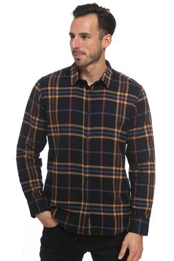 Elevani Men's Long Sleeve Regular Fit Casual Checkered Black