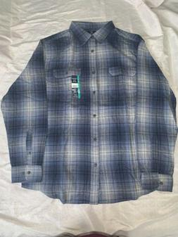 Men's Long Sleeve Shirt XL Super Soft Flannel, Blue And Gray