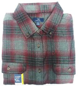 George Men's Long Sleeve Super Soft Flannel Shirt L  Gray &