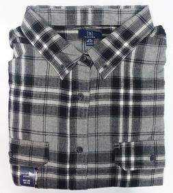 George Men's Long Sleeve Super Soft Flannel Shirt 3XL  Gray