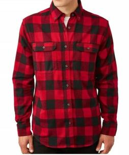 George Men's Long Sleeve Super Soft Flannel Shirt M Red Chec