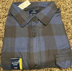 George Men's Long Sleeve Super Soft Flannel Shirt L  Blue An