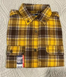 George Men's Long Sleeve Super Soft Flannel Shirt S  Yellow