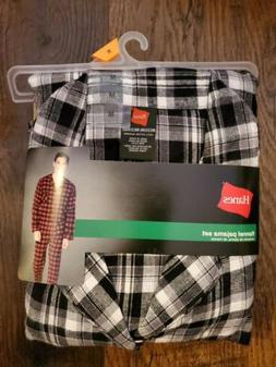 Hanes Men's Medium Black/White, Woven, Cotton Flannel Pajama