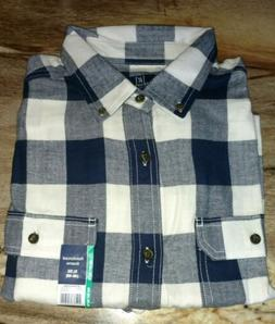 Men's GEORGE Navy and White Buffalo Check Flannel ~ Size  L