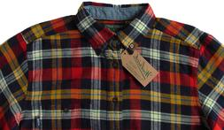 Men's WOOLRICH Navy Red Colors Plaid Flannel Cotton Shirt X-