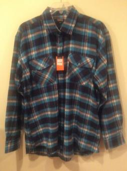 Men's NWT Gioberti Blue Plaid LS XXL Button Front Cotton Fla