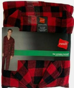 Hanes ~ Men's Pajama Shirt & Pant Set Flannel Black Red Plai