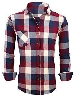 XTAPAN Men's Plaid Casual Regular Fit Long Sleeve Lattice Bu