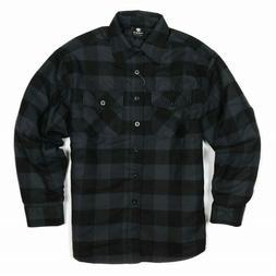 YAGO Men's Plaid Flannel Button Down Casual Shirt Jacket Bla