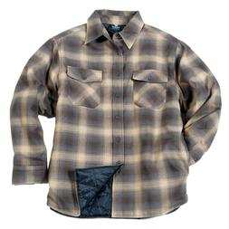 YAGO Men's Plaid Flannel Button Up Casual Shirt Jacket Beige