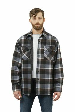 YAGO Men's Plaid Flannel Button Up Casual Shirt Jacket Black