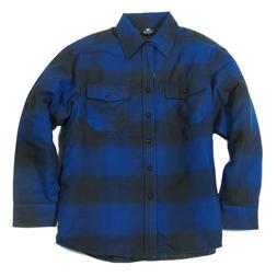 YAGO Men's Plaid Flannel Button Up Casual Shirt Jacket Blue/
