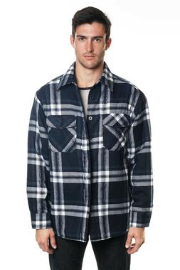 YAGO Men's Plaid Flannel Button Down Casual Shirt Jacket Nav