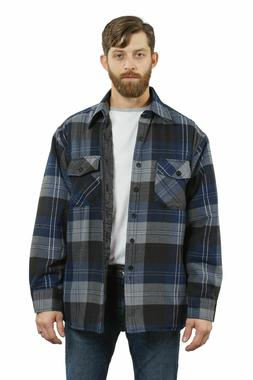 YAGO Men's Plaid Flannel Button Down Casual Shirt Jacket Blu