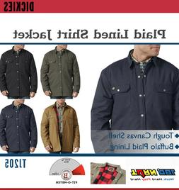 Dickies Men's Plaid Lined Canvas Shirt Jacket Buffalo Plaid