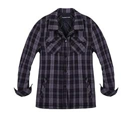 Zenthace Men's Quilted Lined Button Down Plaid Flannel Shirt