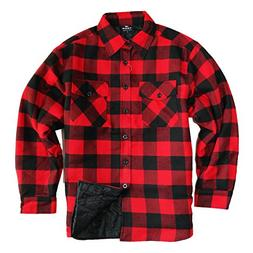 YAGO Men's Quilted Lined Long Sleeve Flannel Plaid Button Do
