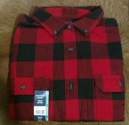 Men's GEORGE Red/Black Buffalo Check Flannel ~ Size Large ~