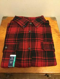 George Men's Red Plaid Flannel Shirt Size XL Button Front Co