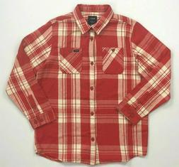 Men's RVCA Regular Fit Button-Front Plaid Flannel Cotton Lon