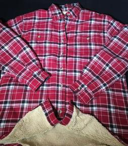 Men's Wrangler Sherpa Lined Plaid Flannel Work Shirt Size XL