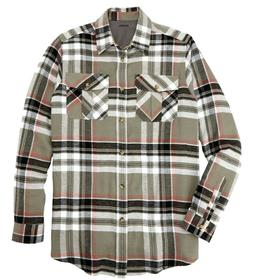 KingSize Men's Shirt Plaid Flannel Buttom Up Long Sleeves Bu