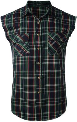 men s sleeveless flannel plaid shirts casual
