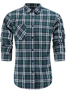 Emiqude Men's Slim Fit Casual Flannel Cotton Long Sleeve Pla