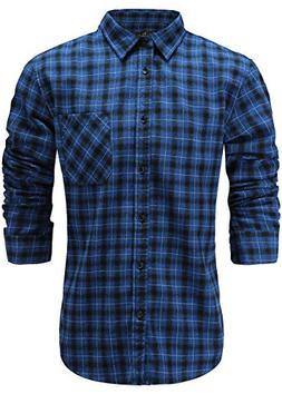 Emiqude Men's Slim Fit Flannel Cotton Casual Long Sleeve But