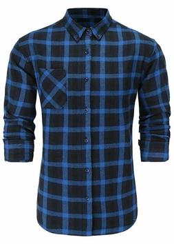 Emiqude Men's Slim Fit Flannel Cotton Long Sleeve Button-Dow