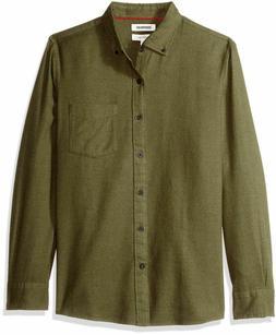 Goodthreads Men's Slim-Fit Plaid Brushed Heather Shirt, Oliv
