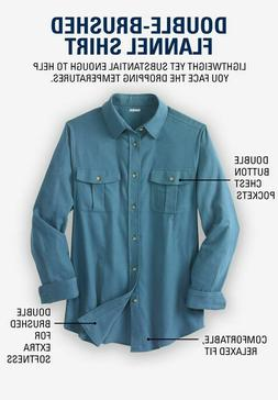 KingSize Men's Solid Double Brushed Flannel Long Sleeve Shir