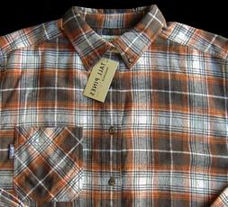 Men's TALL PINES WOOLRICH Brown Cream Plaid Flannel Cotton S