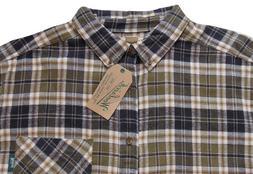 Men's TALL PINES WOOLRICH Brown Ecru Plaid Flannel Cotton Sh